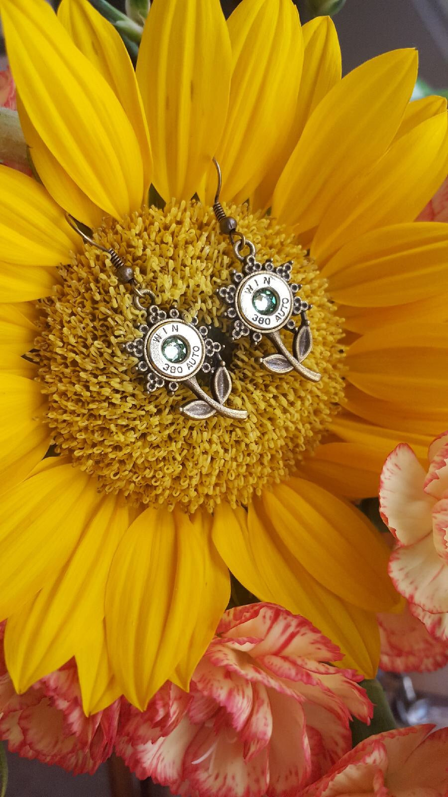 .380acp Sunflower Bullet Earrings - Southern Bullets