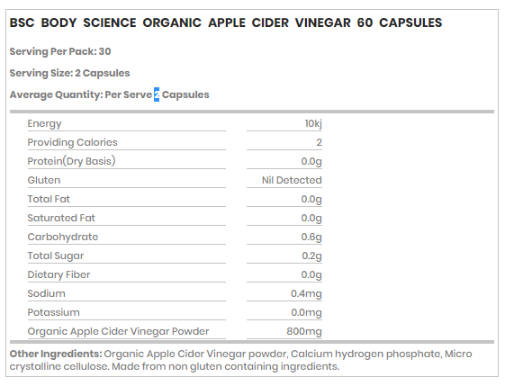 BSc Organic Apple Cider Vinegar Facts