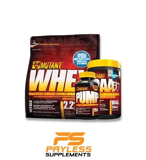 Buy MUTANT STACK - Whey - Pump - BCAA this sports supplement from Payless Supplements, today
