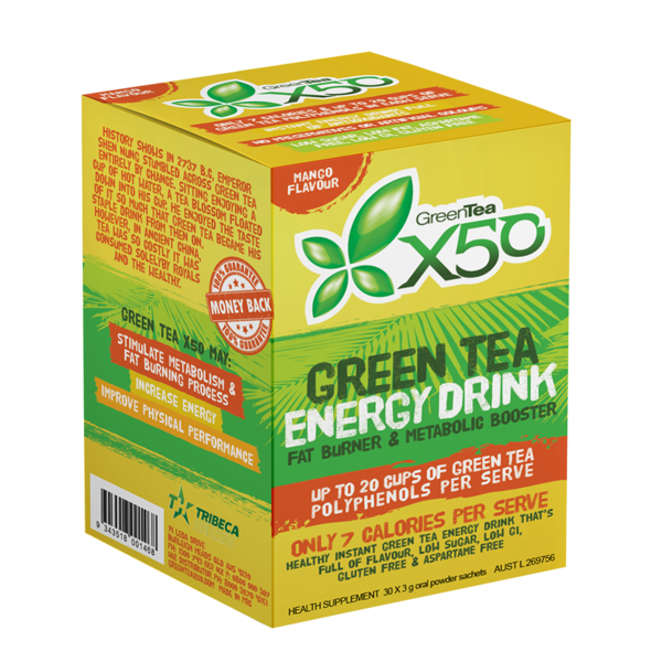 Buy X50 GREEN TEA MANGO NEW FORMULA this sports supplement from Payless Supplements, today