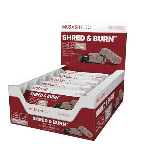 Buy MUSASHI SHRED & BURN PROTEIN BARS this sports supplement from Payless Supplements, today