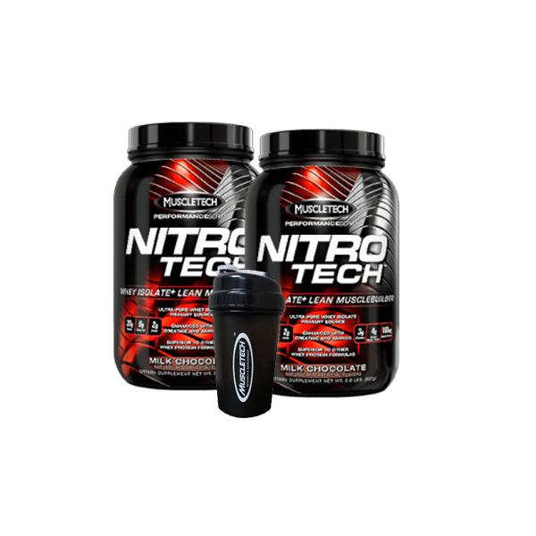Buy MUSCLETECH NITRO TECH 2LB X2 + SHAKER this sports supplement from Payless Supplements, today
