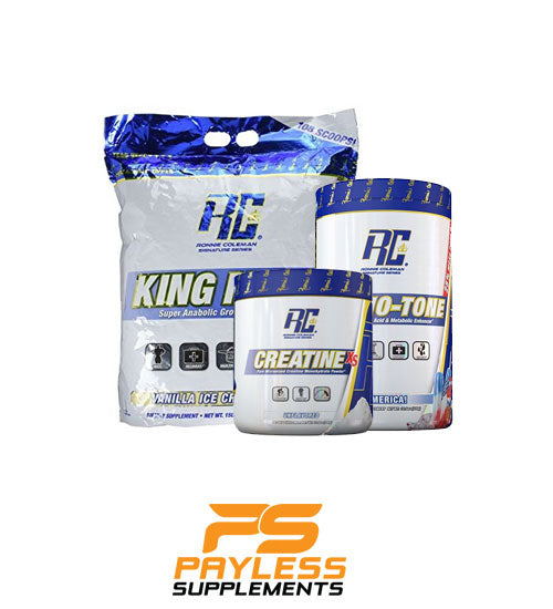 Buy RONNIE COLEMAN  STACK - KING MASS 15LB - CREATINE 300G - AMINO-TONE this sports supplement from Payless Supplements, today