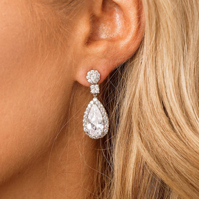 CZ Drop Bridal Earrings & Wedding Jewellery by The Luxe Bride