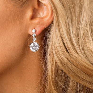 CZ Drop Bridal & Wedding Earrings by The Luxe Bride