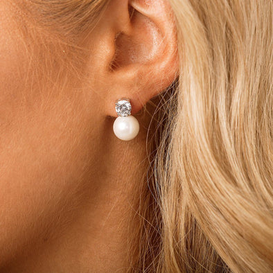 CZ Pearl Bridal & Wedding Earrings by The Luxe Bride