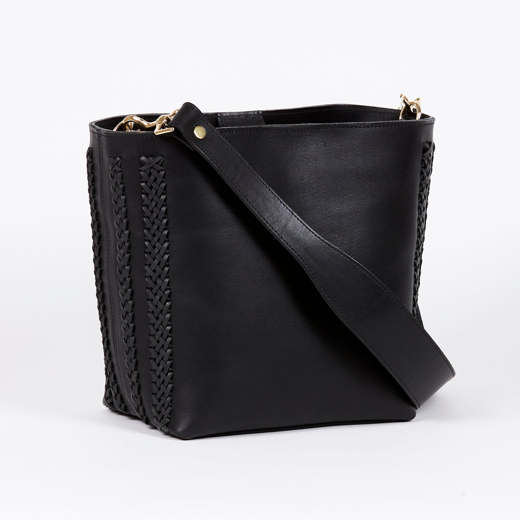 black leather bucket bag BLACK MOON front