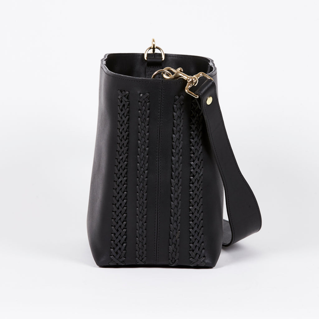 black leather bucket bag BLACK MOON side