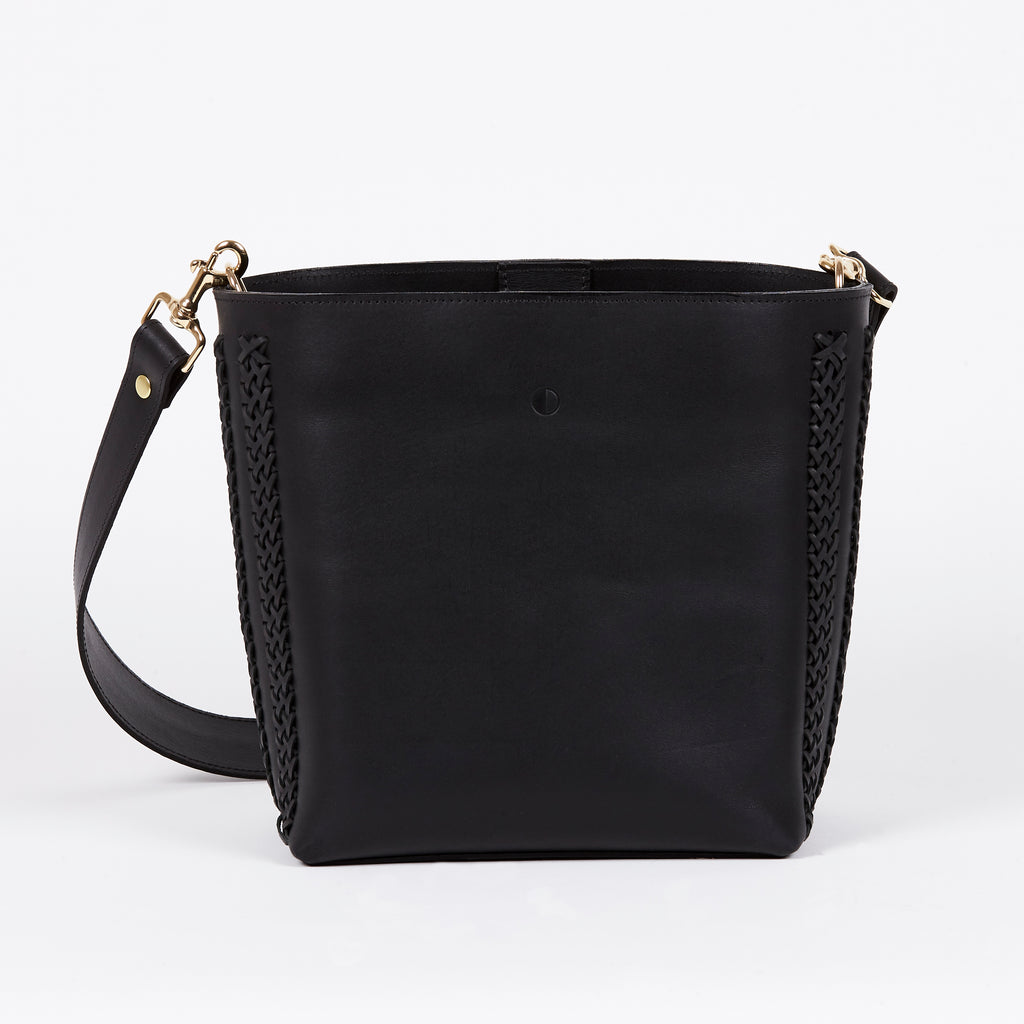 black leather bucket bag BLACK MOON back