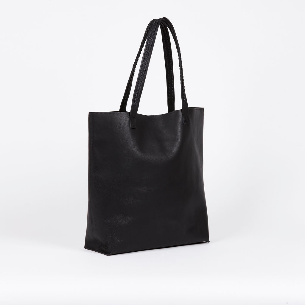 BLACK MOON New Zealand leather weave tote front view
