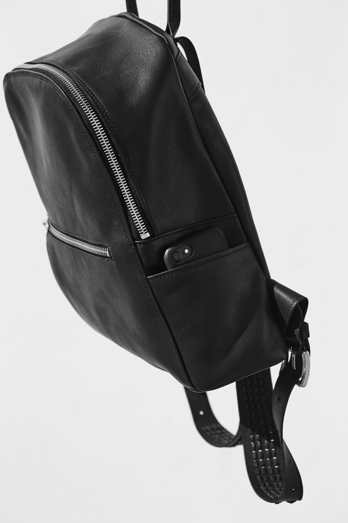 BLACK MOON CRESCENT LEATHER WEAVE BACKPACK CLOSE UP SIDE VIEW
