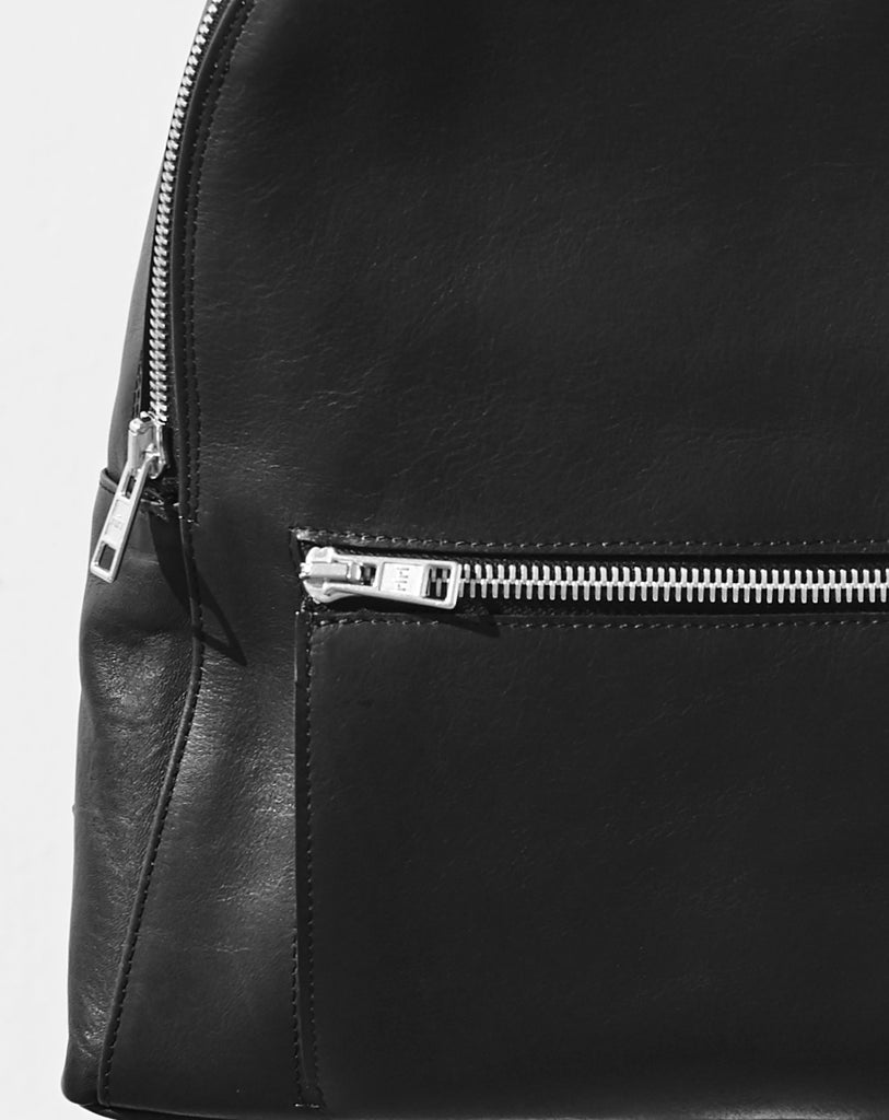 black moon crescent backpack front zip close up