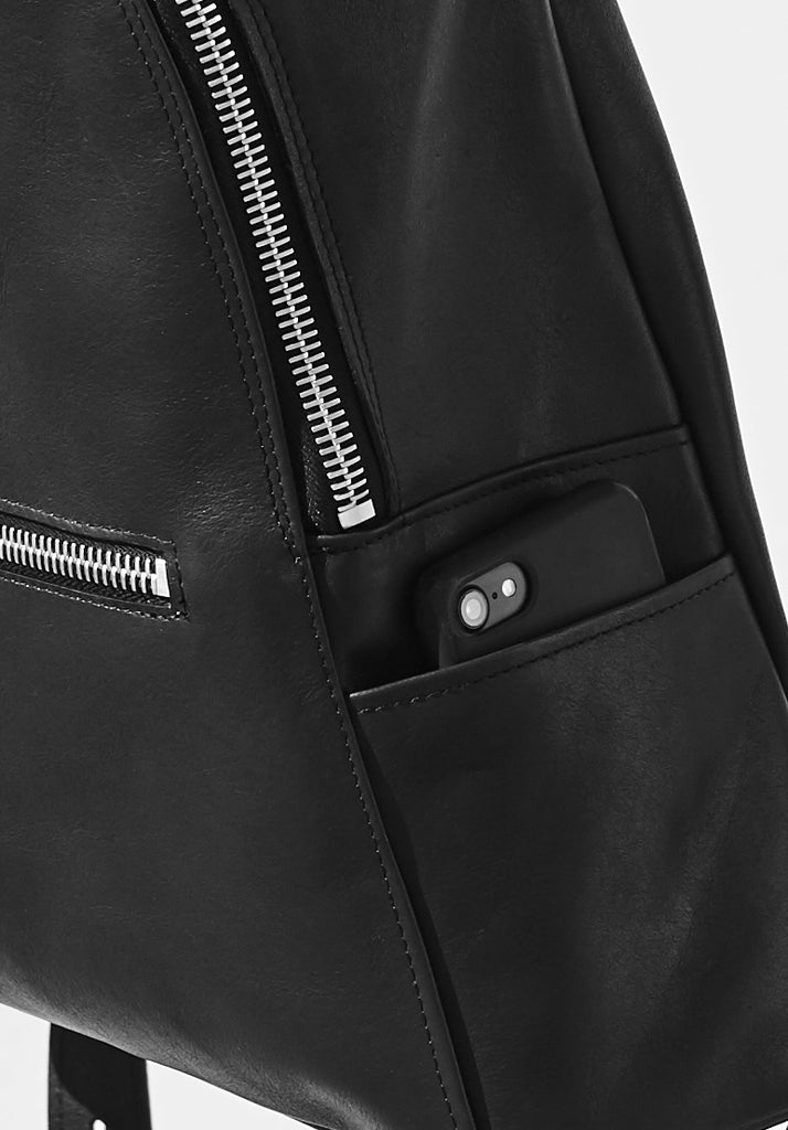 black moon crescent backpack leather weave side pocket close up