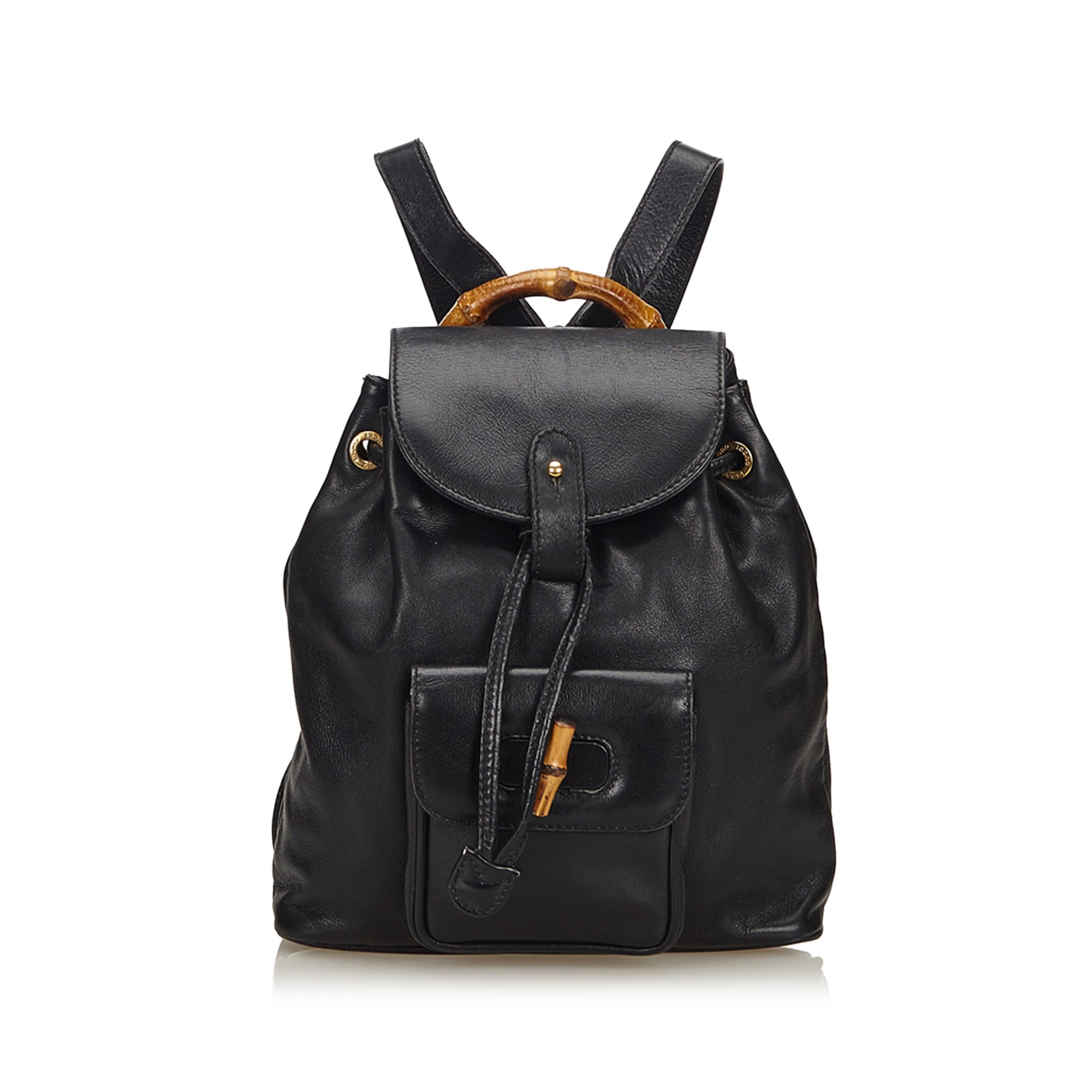 Gucci Bamboo Leather Drawstring Backpack - Olive Street