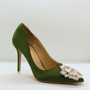 Satin Crystal Toe Pump