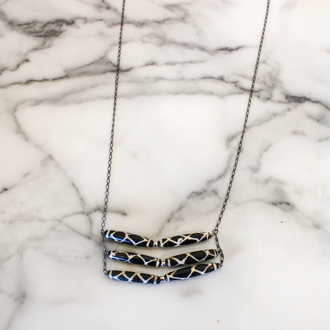 Spotted Horn Layered Necklace