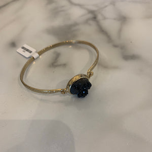 Black Druzy Latch Gold Bangle