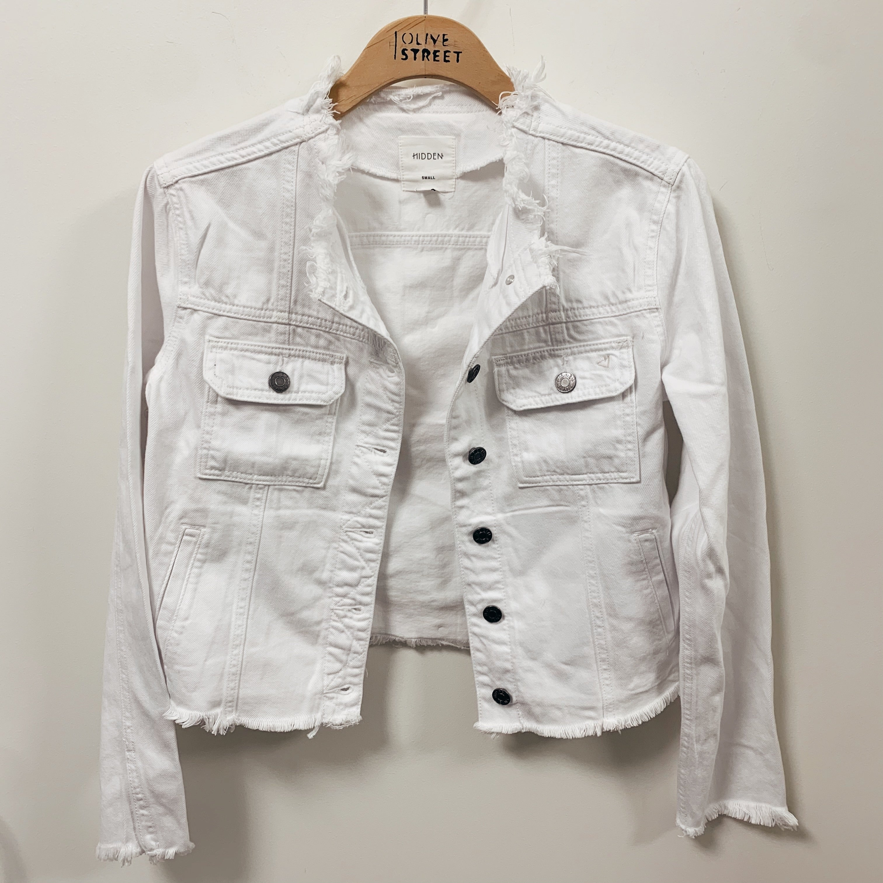 Collarless Fray Denim Jacket