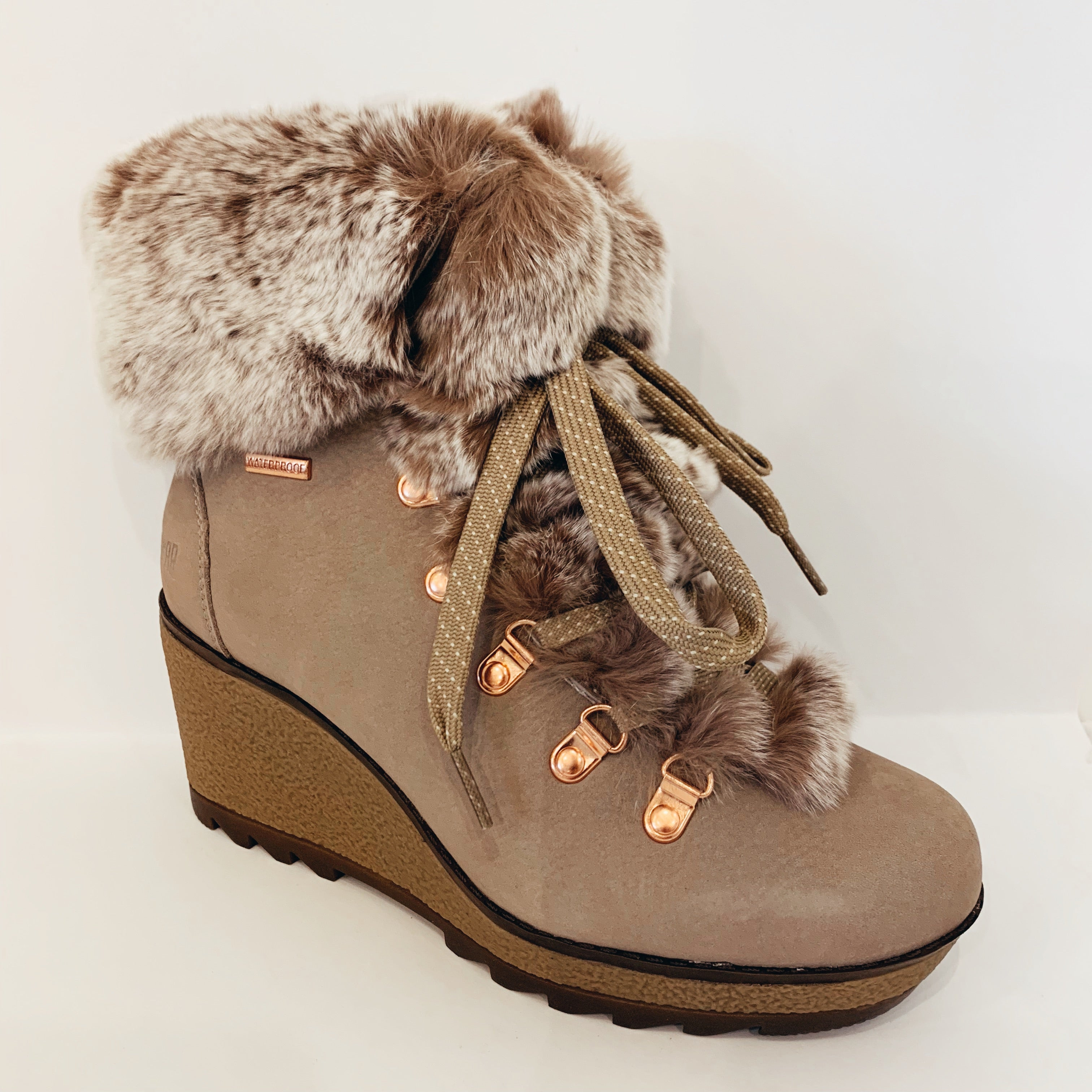 Furry Wedge Boot - Olive Street