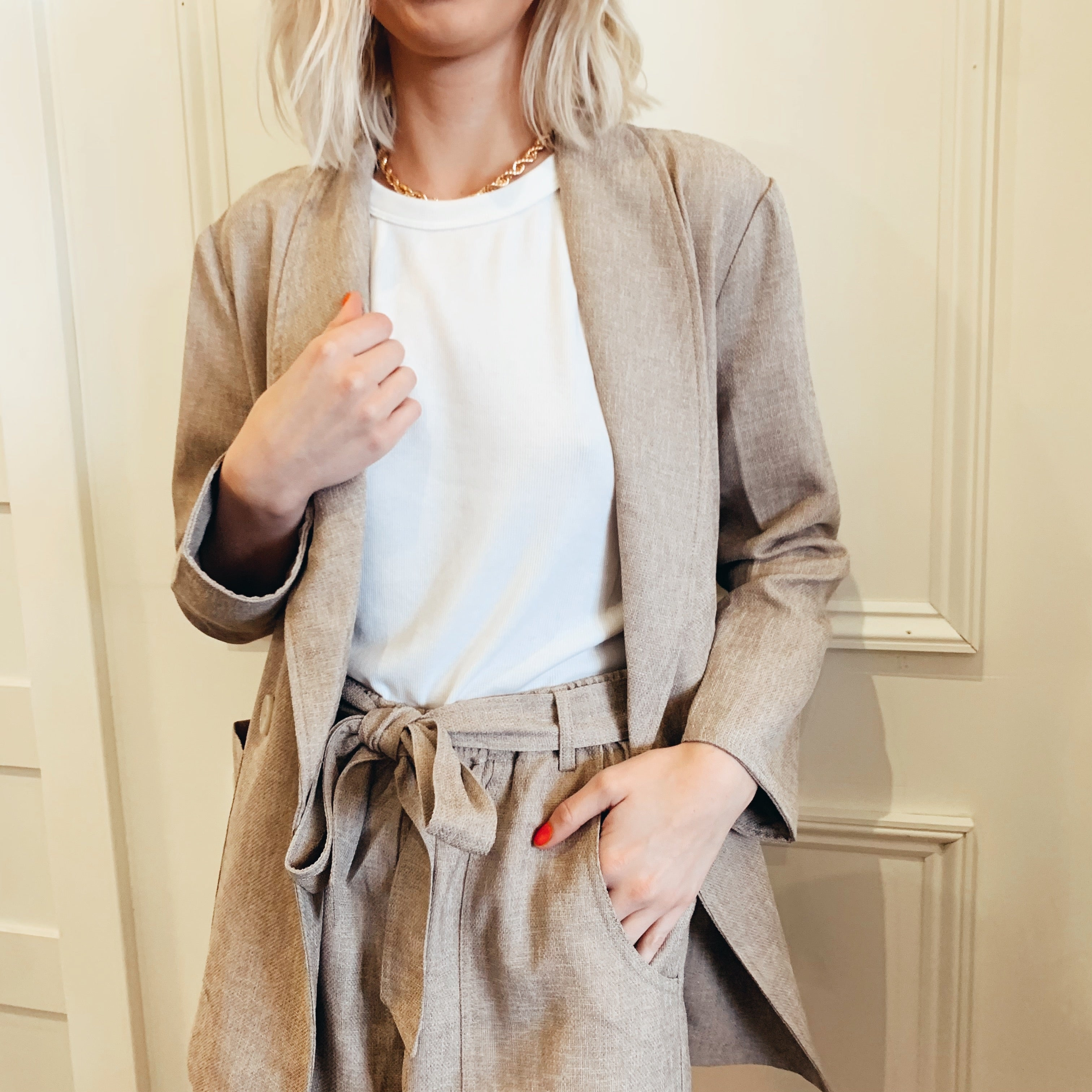 Shawl Collar Linen Look Blazer