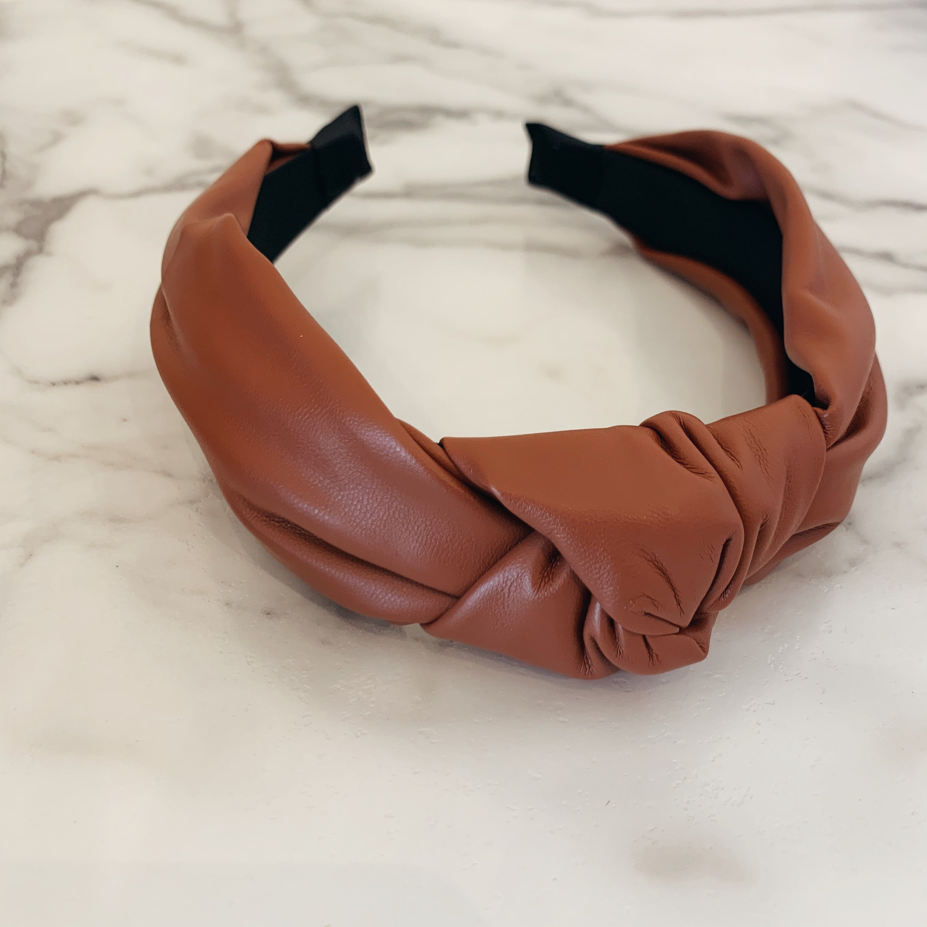 Cognac Faux Leather Headband