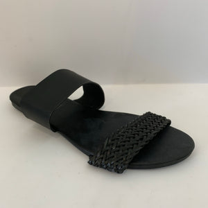 Double strap sandal with faux leather and woven combination