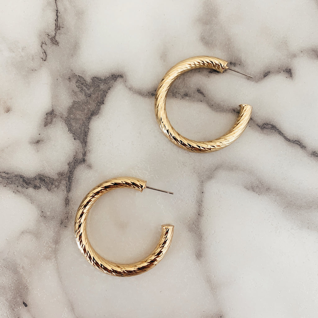 Textured Gold Hoop - Olive Street