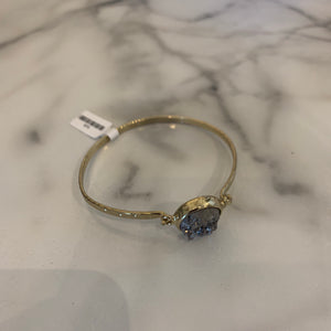 Grey Druzy Latch Gold Bangle