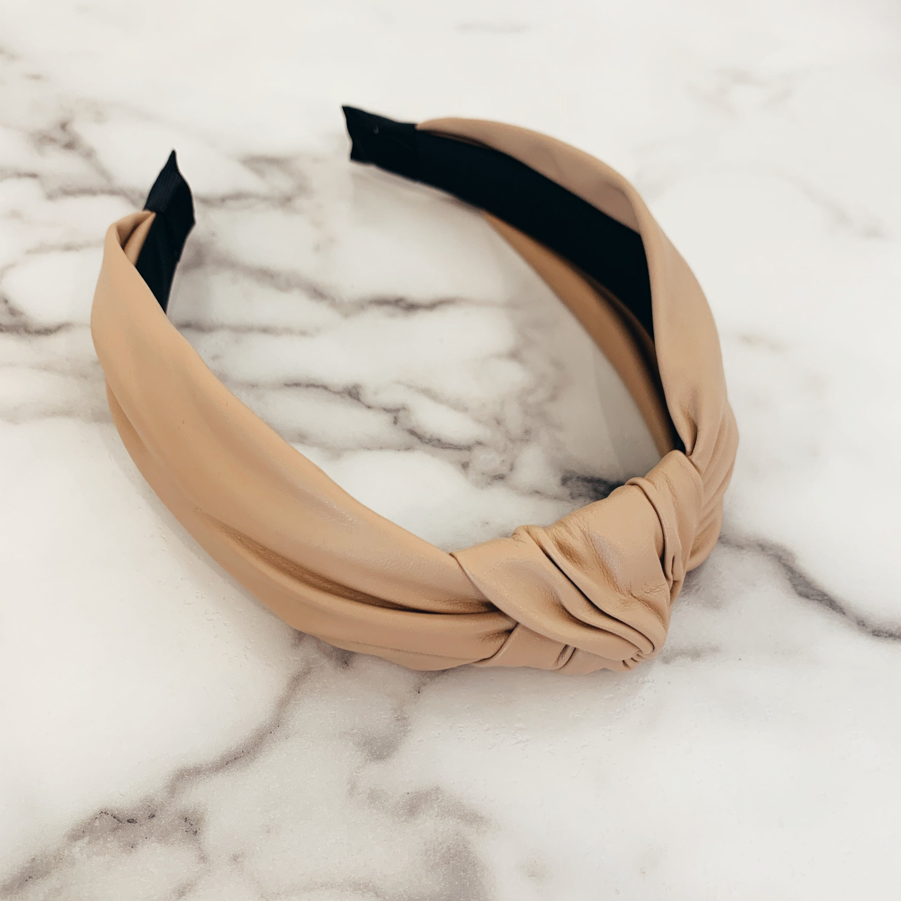Camel Faux Leather Headband - Olive Street