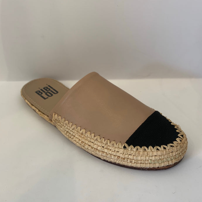 Colorblock Raffia Wrapped Slide