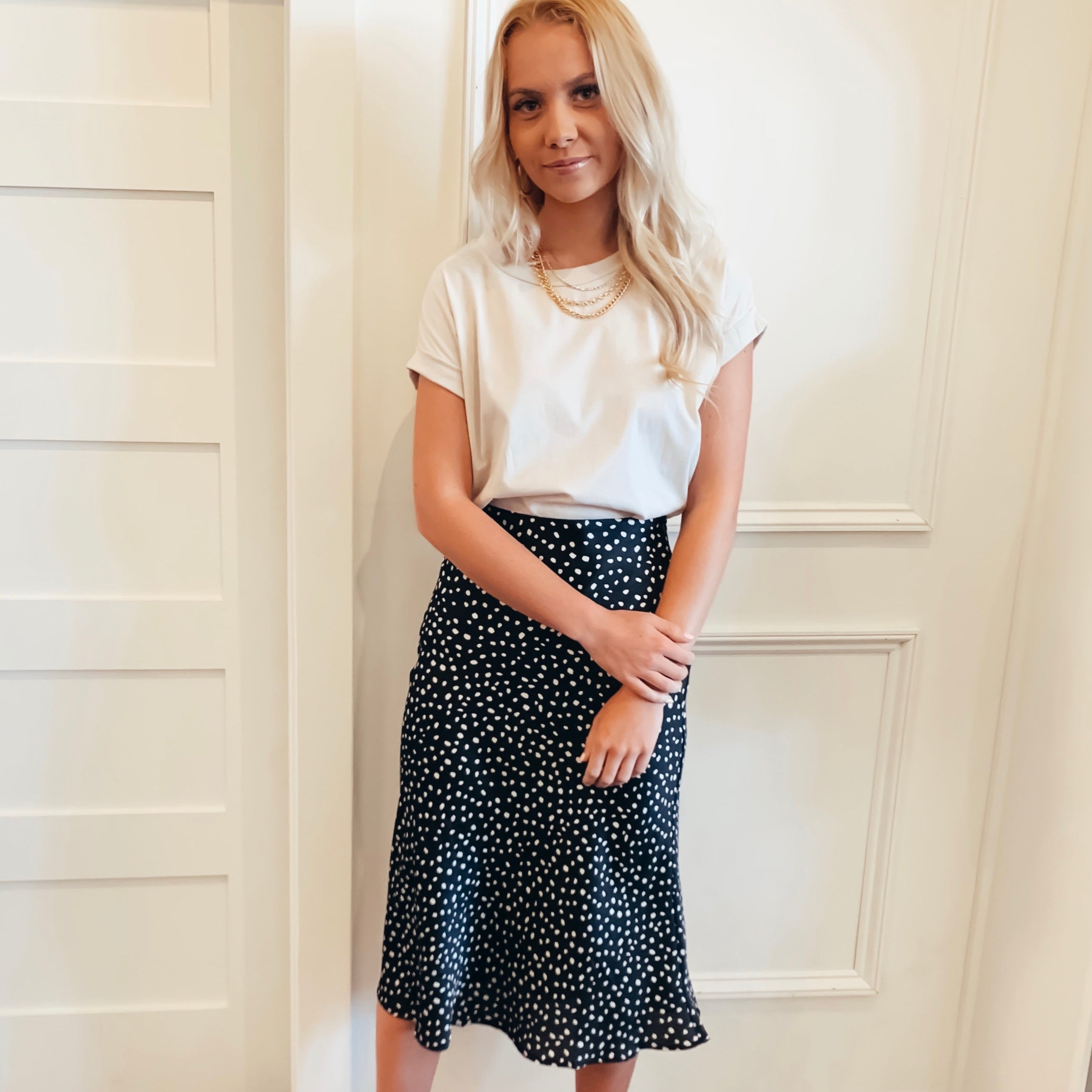 Dot Satin Skirt - Olive Street