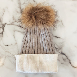 Ribbed Colorblock Pom Beanie