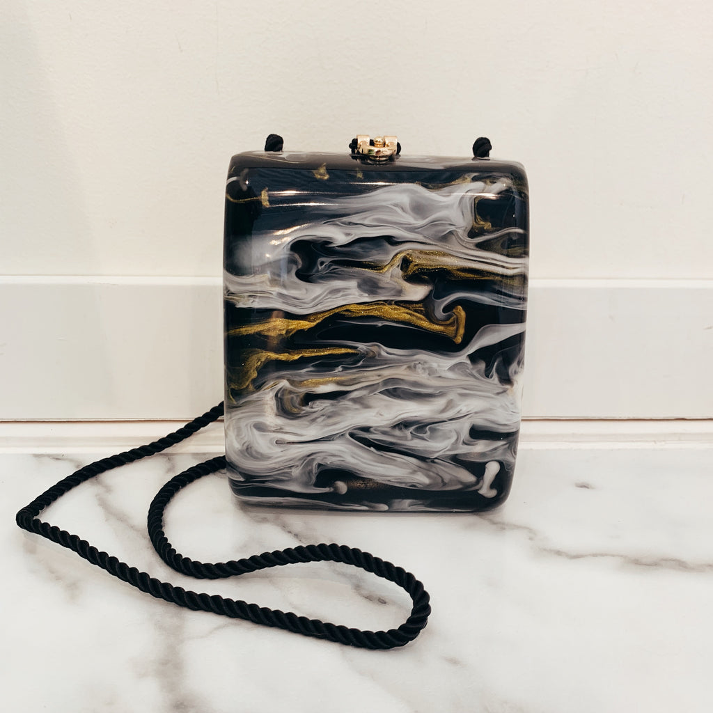 Marbled Box Clutch - Olive Street