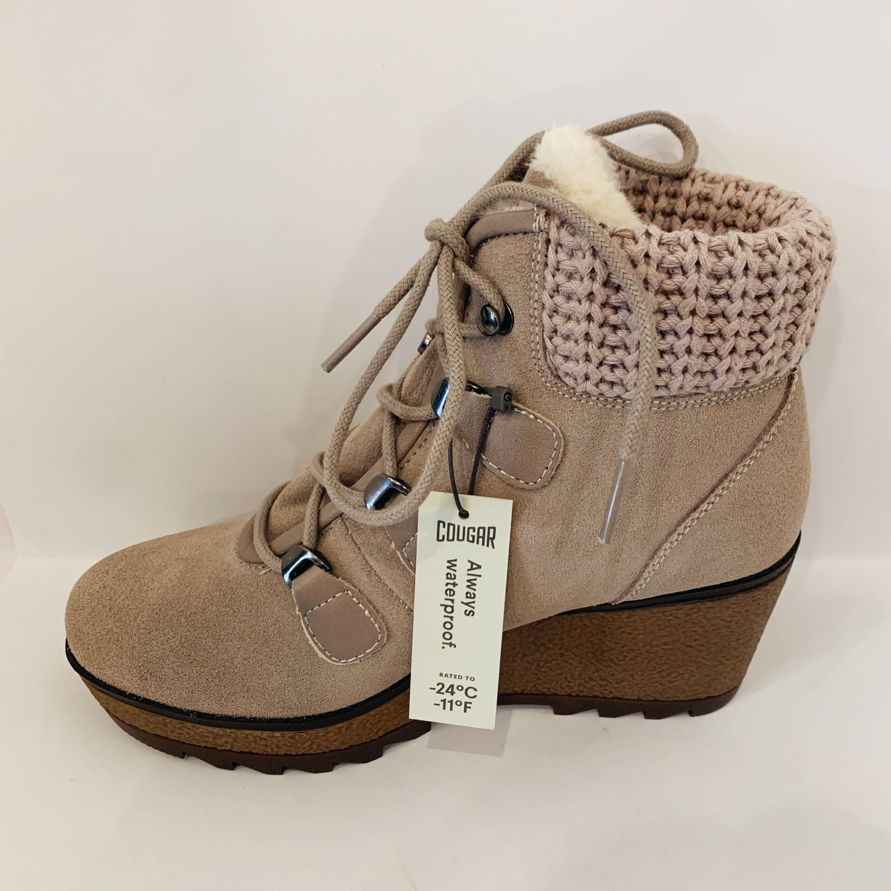 Sweater Trim Suede Wedge Boot