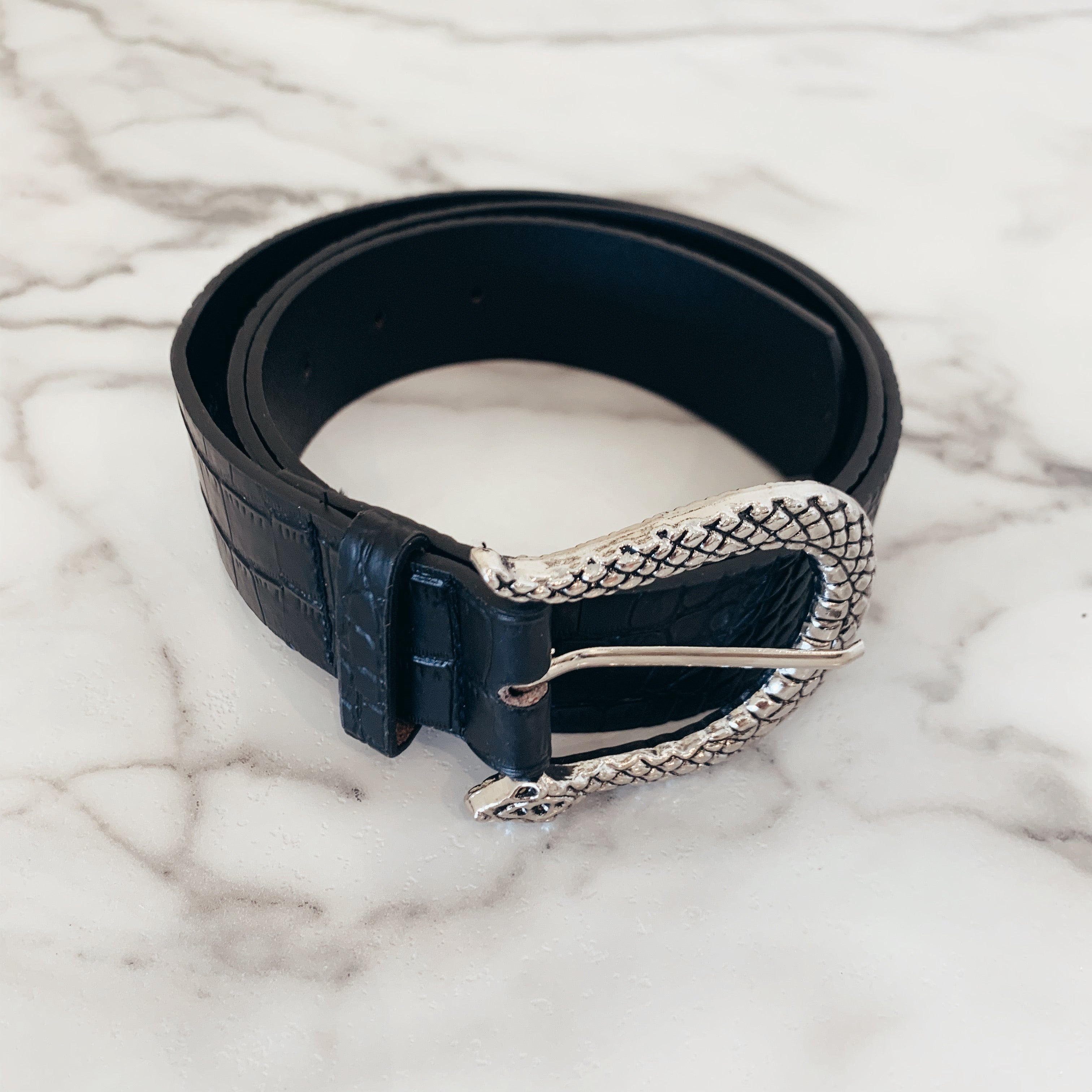 Faux Leather Snake Belt