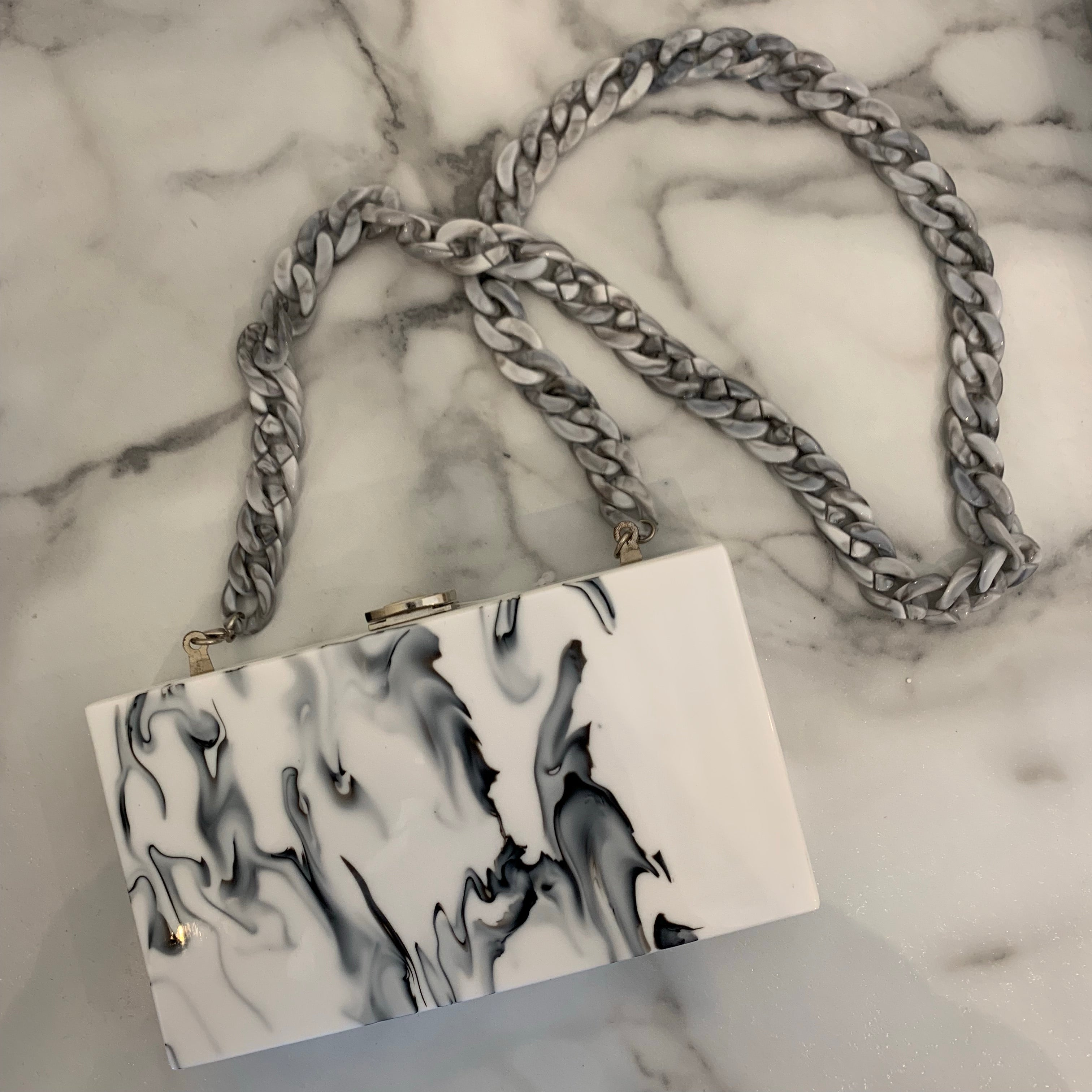 Marble Square Clutch with Chain - Olive Street