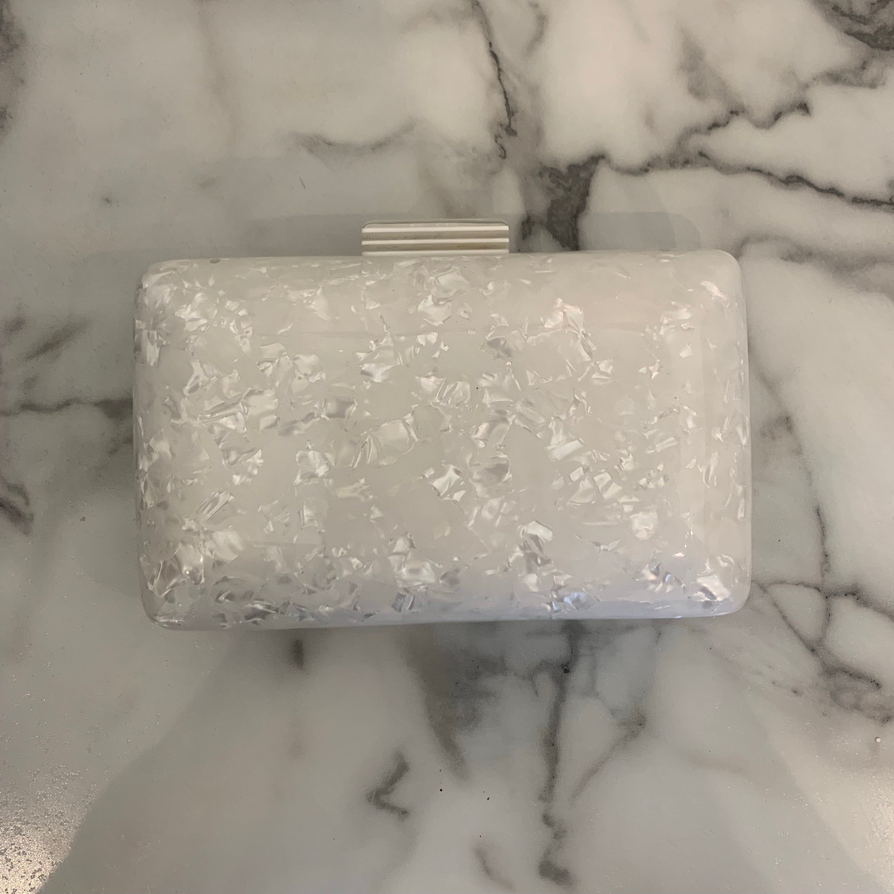 White Pearlized Clutch - Olive Street