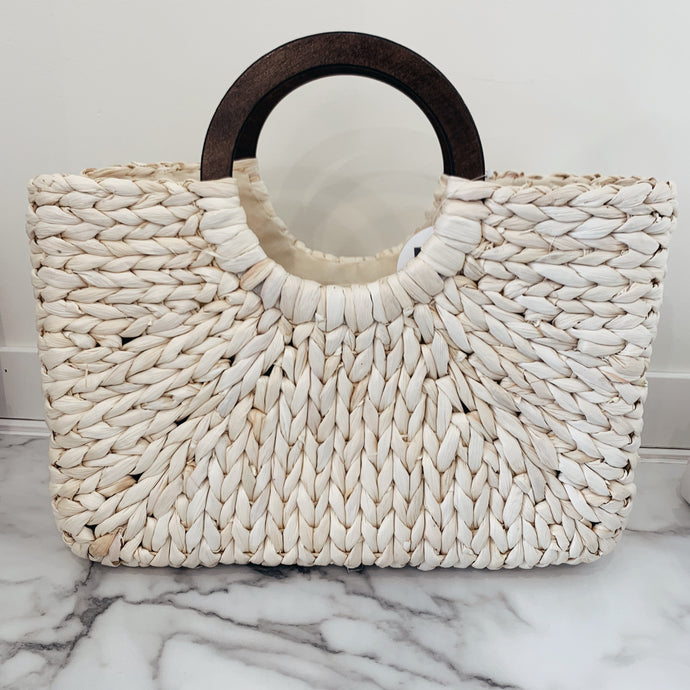 Wood Handle Structured Raffia