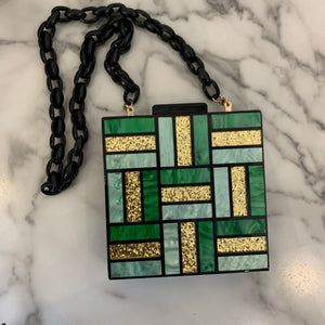 Green Geo Square Clutch