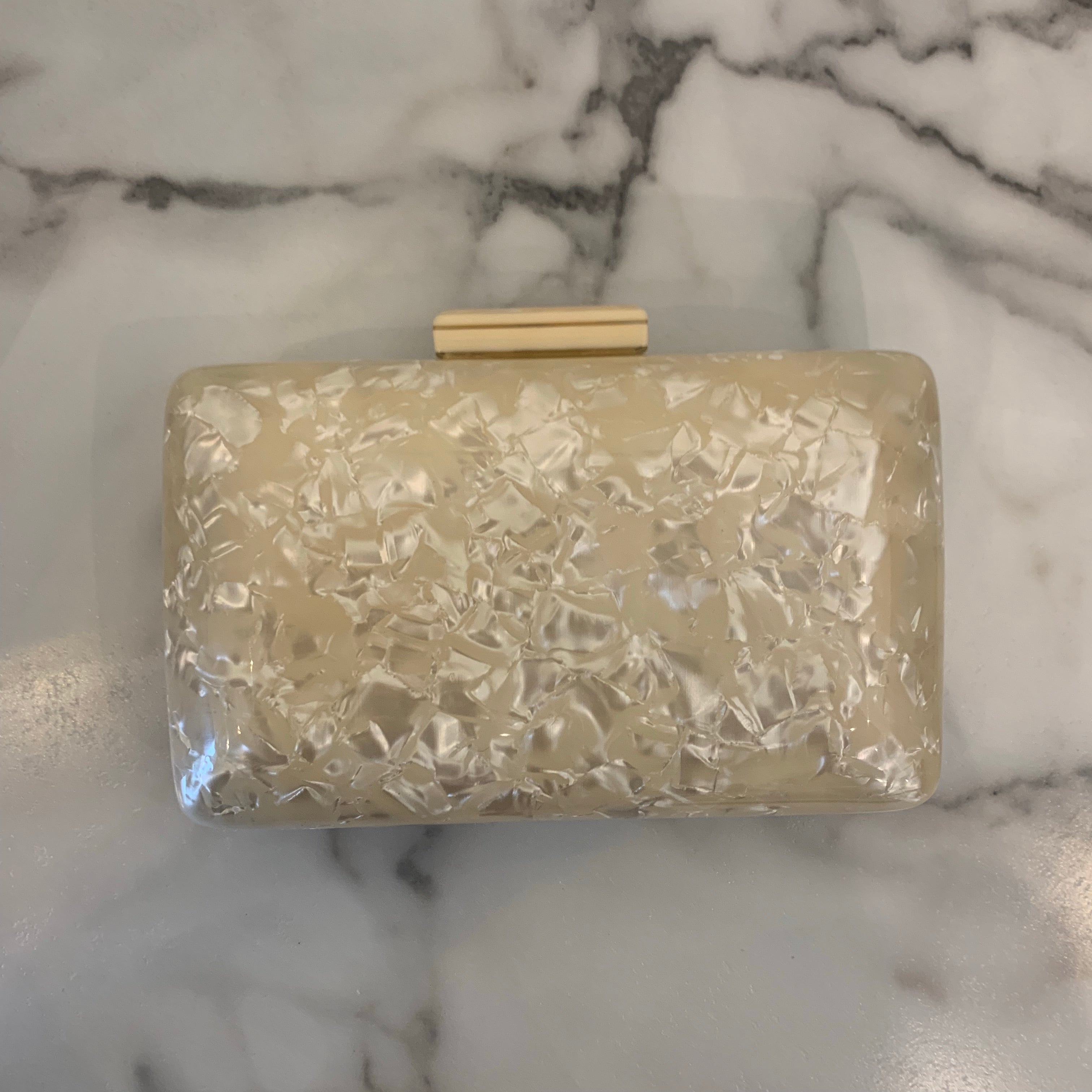 Pearlized Square Clutch - Olive Street