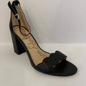 Sam Edelman Leather Black Scallop Heel