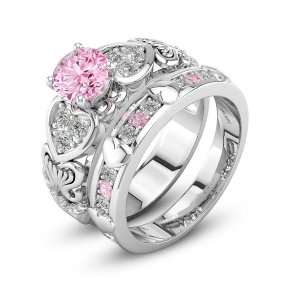 Satisfaction ; Heart Shape Wedding Ring Sets For Women Female Engagement  Ring Sets Jewelry .   Satisfaction