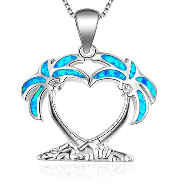 Macatsa Fashion Blue Fire Opal Beach Coconut Tree