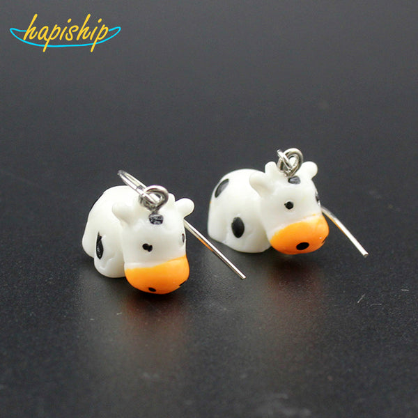 Handmade Resin Cute Cow Dangle Earring Personality Party Earring Children's Earring . - satisfaction-365.com