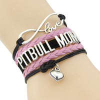 Infinity Love pitbull mom bracelet dog pet paw charm leather bracelets & bangles for women men jewelry drop shipping - satisfaction-365.com
