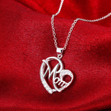 Love Mom Gift Great Mama Pendant Necklace - Silver Plated Jewelry Christmas Gift For Mother MUM Letters Heart Pendant Wholesale - satisfaction-365.com