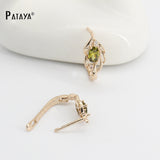 PATAYA Natural Olive Green Earrings 585 Rose Gold Natural Cubic Zircon Fine Jewelry Short Eardrop Accessories Vintage Earrings - satisfaction-365.com