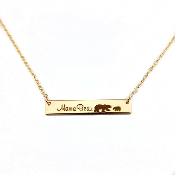 Mama Bear / Cubs Bar Pendant Necklaces for Mother's Day Gift - satisfaction-365.com