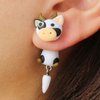 Tocona Handmade 3D Animal Cartoon Cow Stud Earrings for Women Children Cute Polymer Clay Earrings Jewelry Brincos Gifts 3442 - satisfaction-365.com