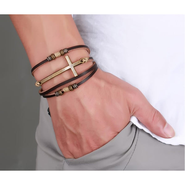 Genuine Real Leather Cross Bracelets Bangles For Women Men Jewelry Size Adjustable . - satisfaction-365.com
